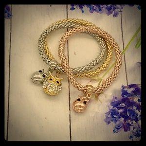 Jewelry - 🦉🌼Owl Bangle Bracelet Set of 3 🌼🦉